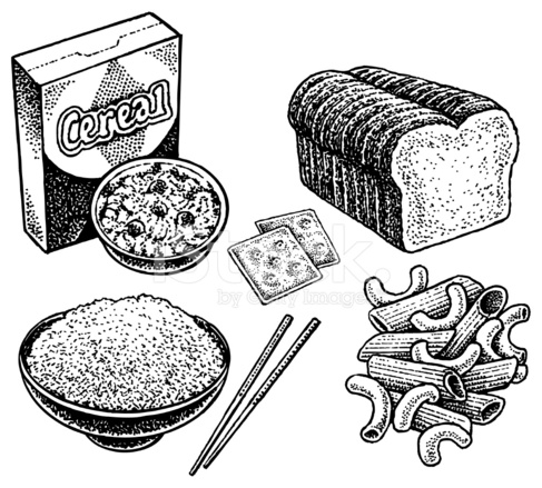 Carbohydrates Crackers, Bread, Cereal, Rice, Pasta Stock