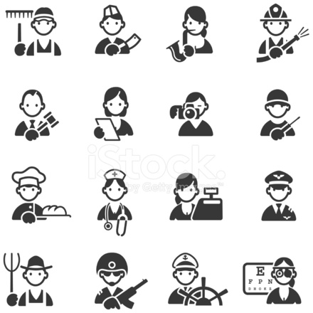 Icons of 16 Different Professions Stock Vector