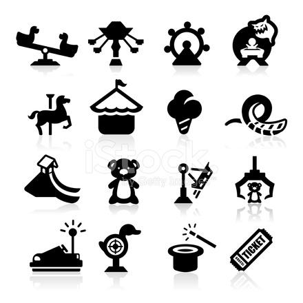 Amusement Park Icons Set Elegant Series Stock Vector