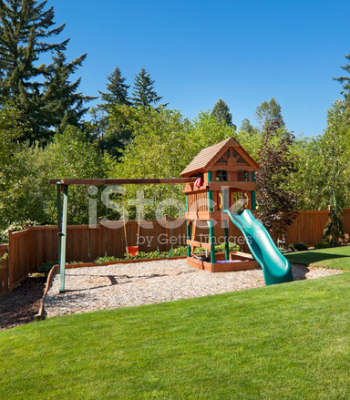 backyard play structure stock