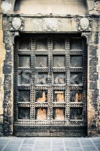 Medieval Reinforced Wooden Door, Frontal View Stock Photos ...