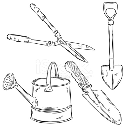 Detailed Drawings of Gardening Tools Stock Vector