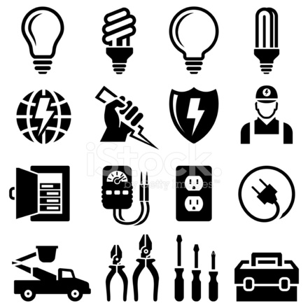 Electrician Equipment for Outlet Repair Black & White Icon