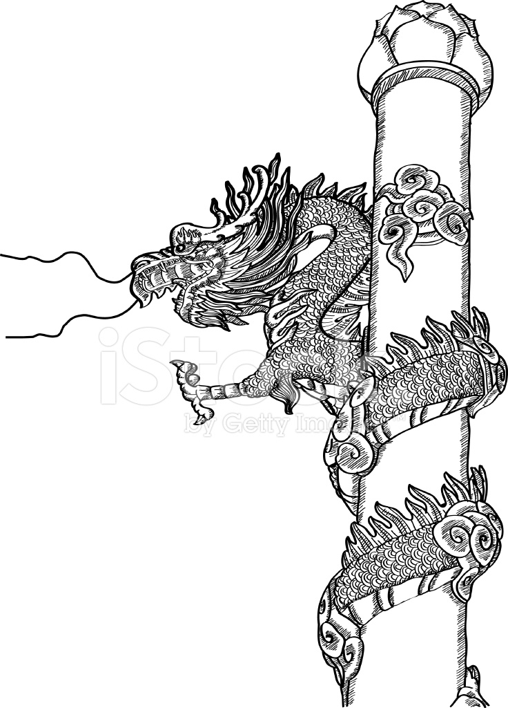Chinese Style Dragon Statue Vector Line Sketch Stock