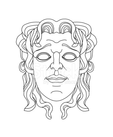 Greek Theatrical Mask of A Young Man Stock Vector
