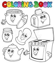 Libro Para Colorear Con Dibujos Animados DE LA Cocina Vectores en stock FreeImages com