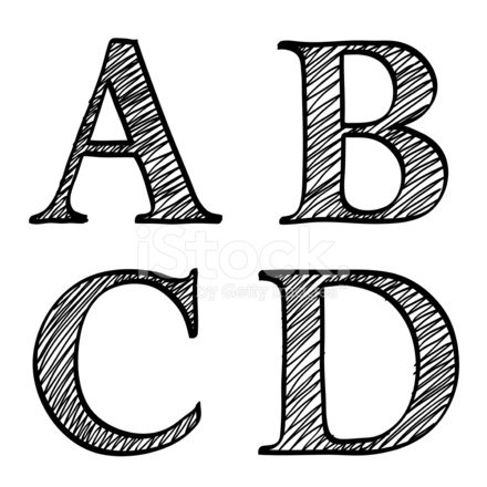 Doodle Scribble Sketch Alphabet Letters Abcd Stock Vector