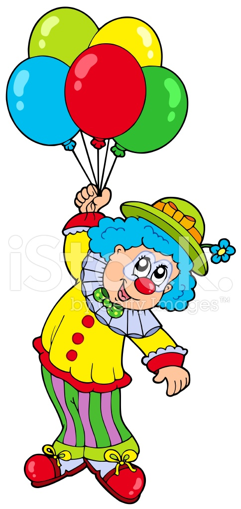 funny smiling clown with balloons