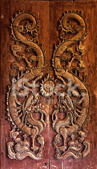Wooden Door Carved Dragon Chinese stock photos ...