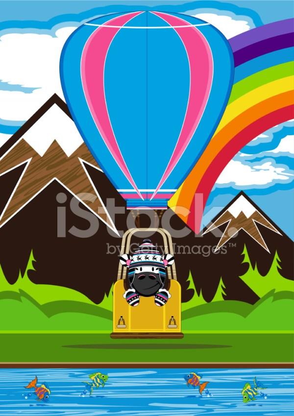 zebra in hot air balloon scene