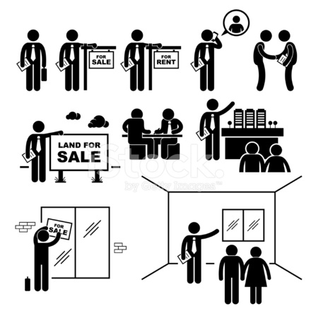 Property Agent Real Estate Client Customer Pictogram stock