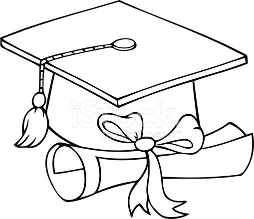 Bianco E Nero Cappello Di Laurea Con Diploma fotografie