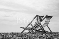 Black and White Deck Chairs on Brighton Beach, England ...