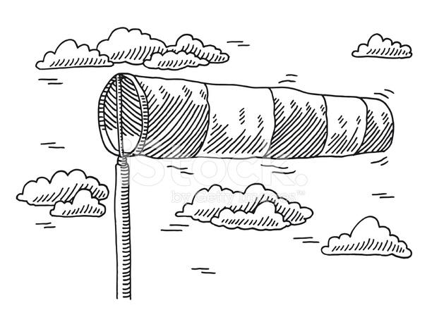 Windsock Air Speed Indicator Drawing stock photos