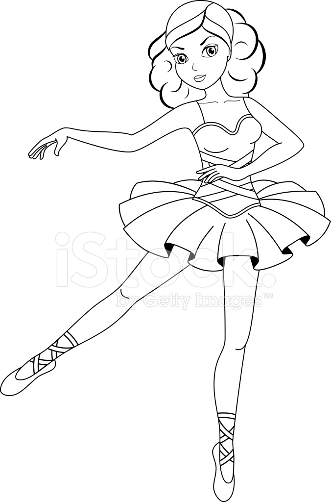 Ballerina Coloring Page Stock Vector Freeimages Com