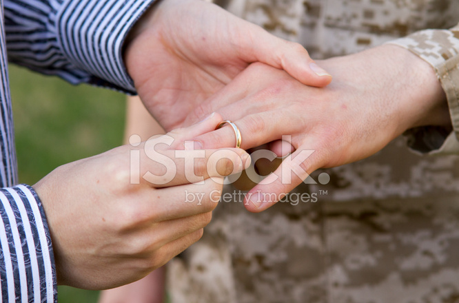 Gay Military Wedding Ring on Finger CU Stock Photos
