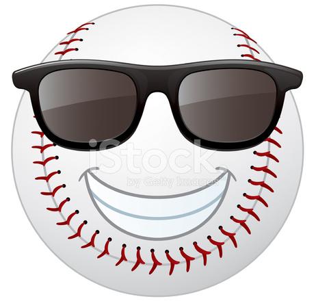 baseball smiley face stock