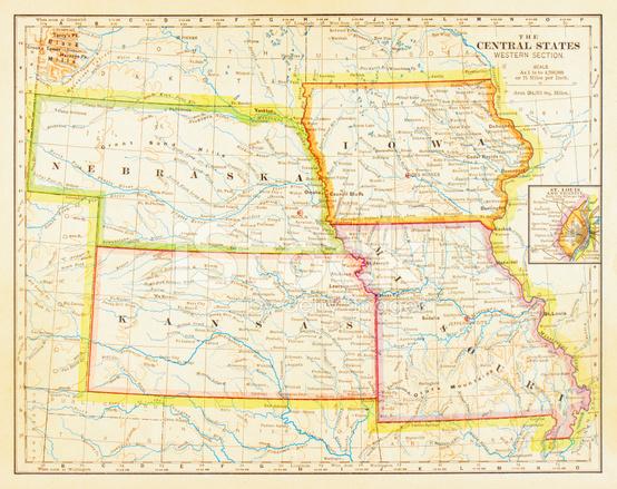 1883 Central States Map Stock Photos FreeImagescom