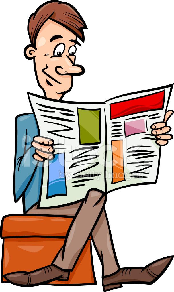 Man With Newspaper Cartoon Illustration Stock Vector