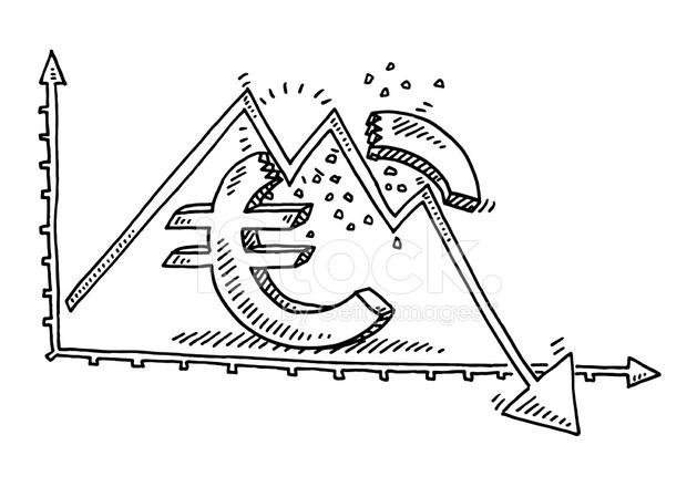 Broken Euro Symbol Recession Graph Drawing Stock Vector