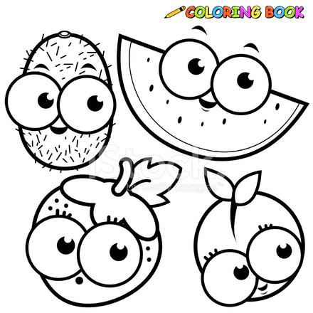 Coloring Book Fruit Cartoon Set Kiwi Watermelon Strawberry