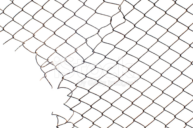Corner Hole IN The Mesh Wire Fence Stock Photos
