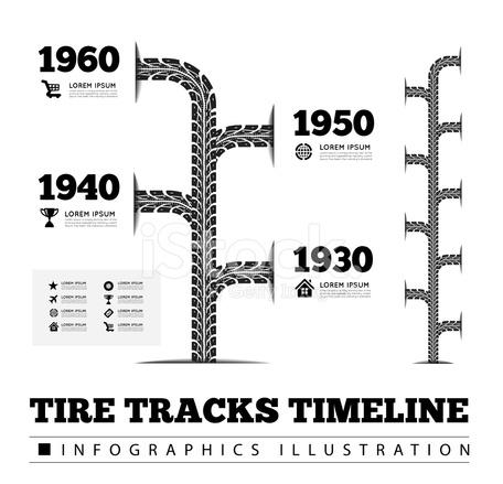 Tire Tracks Timeline Infographics Stock Vector