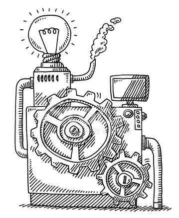 Gears Machine Light Bulb Idea Drawing Stock Vector