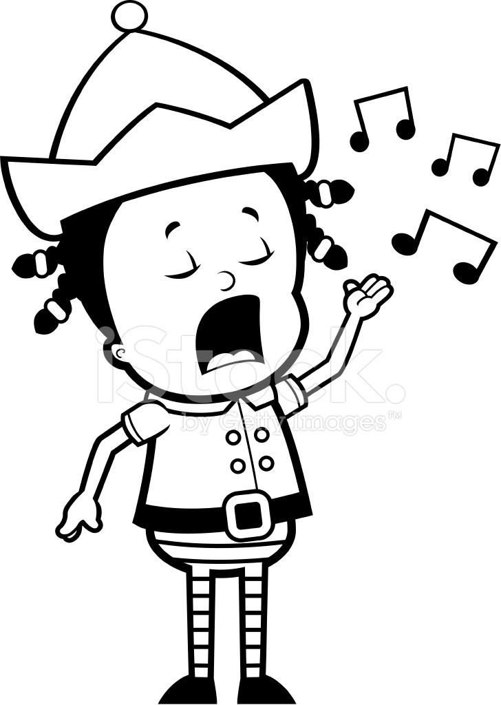 elf singing stock vector