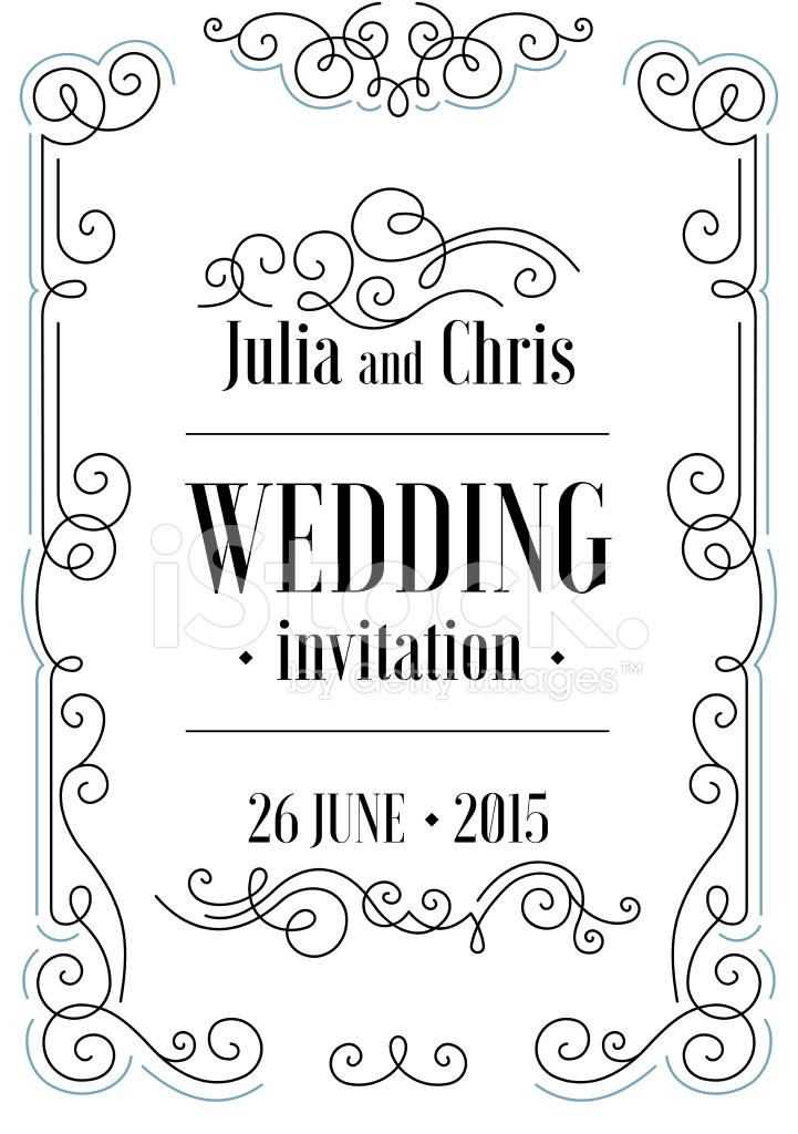 Beautiful Thin Line Ornamental Frame Wedding Invitation Vector