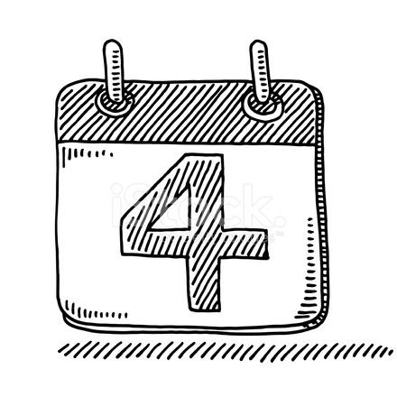 Day Calendar Symbol Number 4 Drawing stock photos