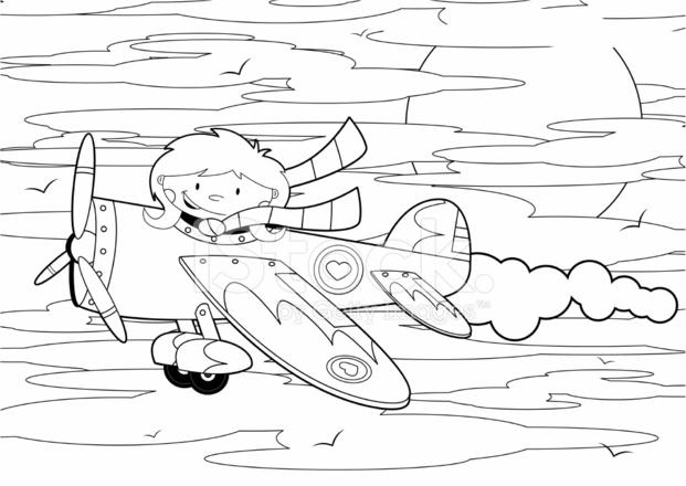 Colour IN Pilot Girl Flying Plane Stock Vector