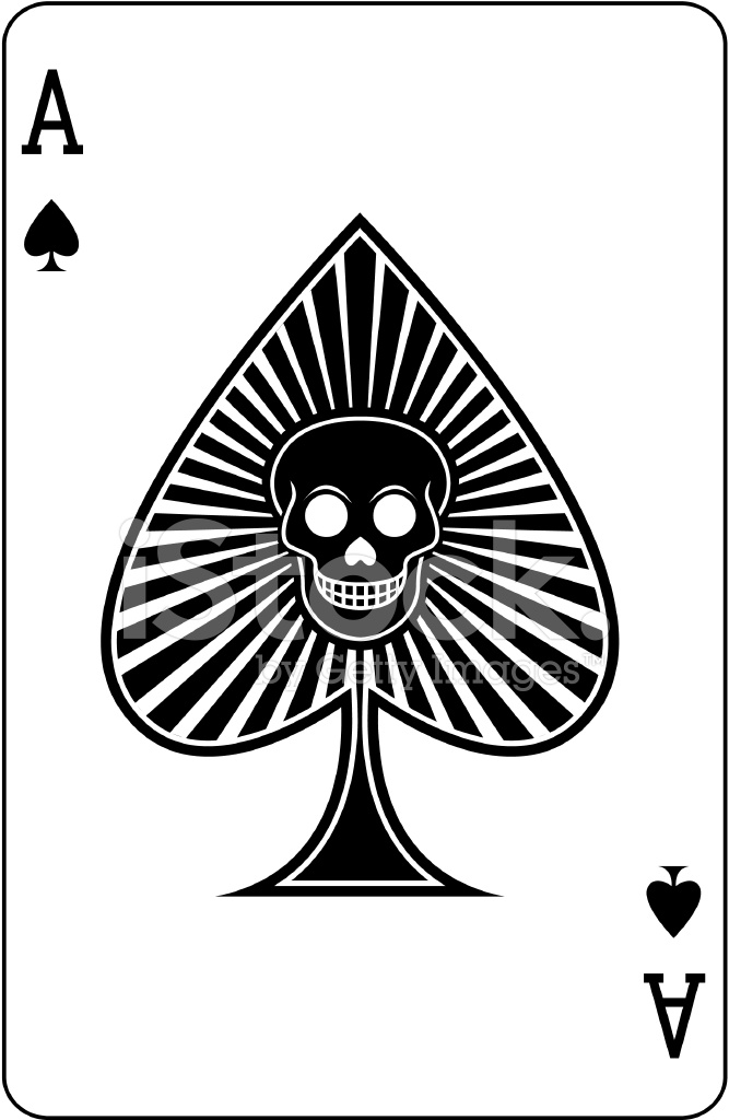 Ace of Spades With Skull Playing Card Stock Vector