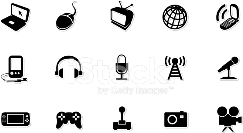 Media Black and White Royalty Free Vector Icon Set