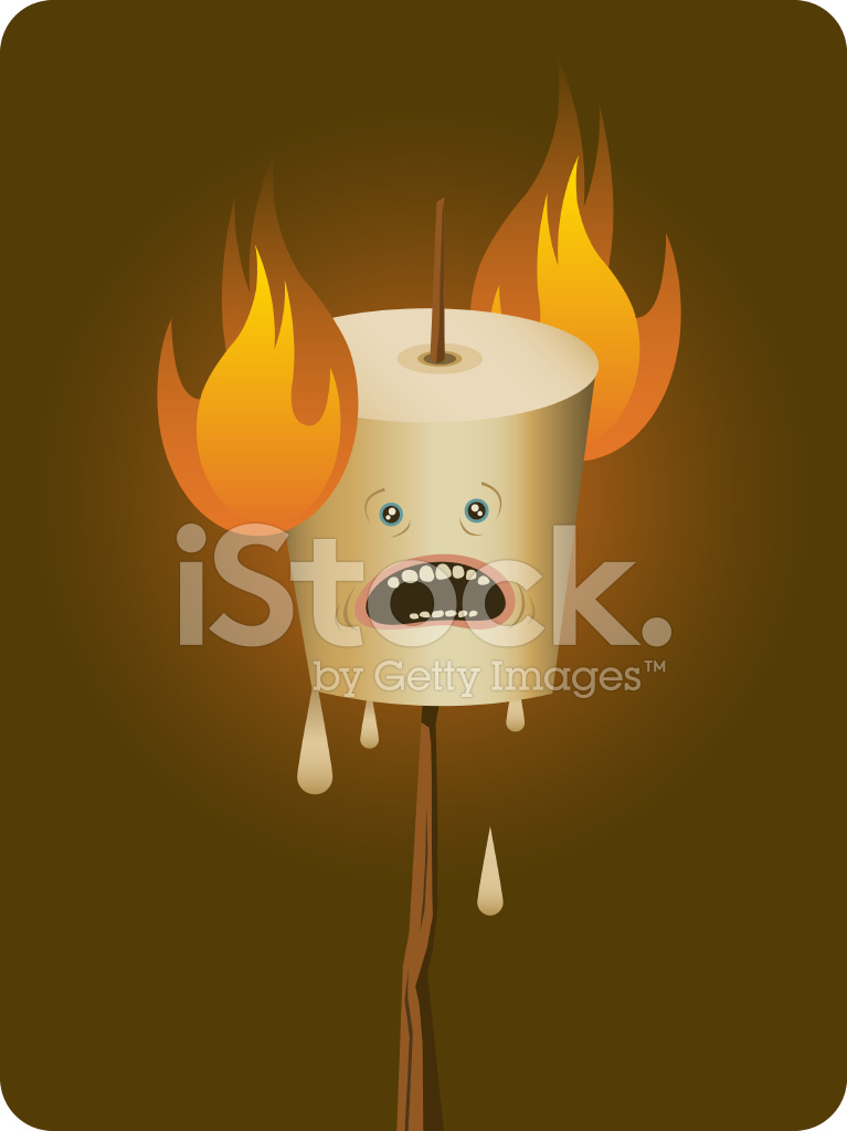 flaming marshmallow stock vector