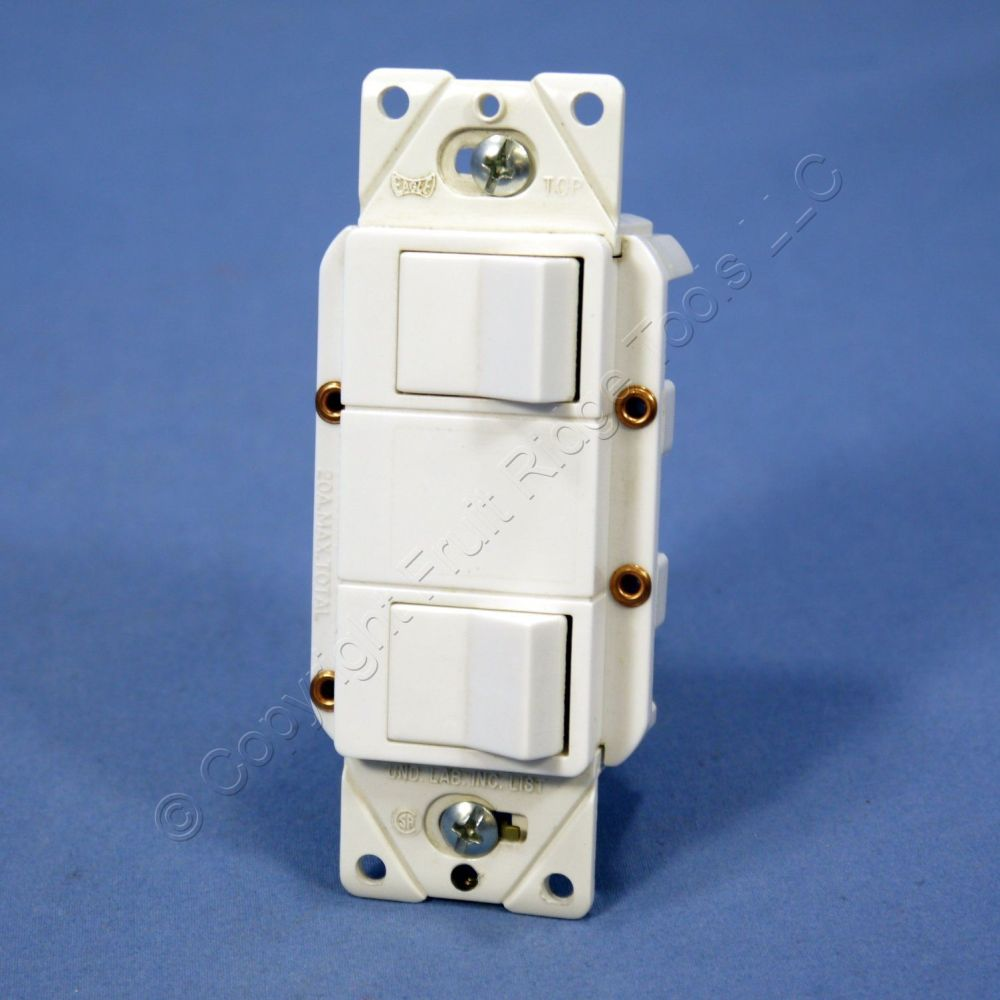 medium resolution of cooper white double rocker wall light switch decorator single pole 15a