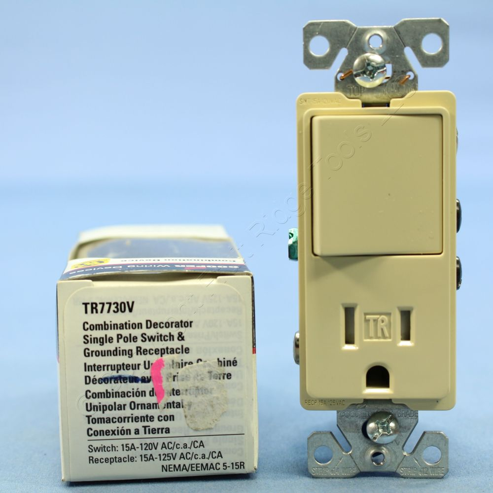 medium resolution of cooper light switch receptacle combo cooper wiring devices 274wspl single pole toggle combination switch