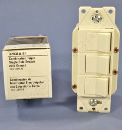 eagle light almond decorator triple rocker switch single pole 3283la [ 1504 x 1504 Pixel ]