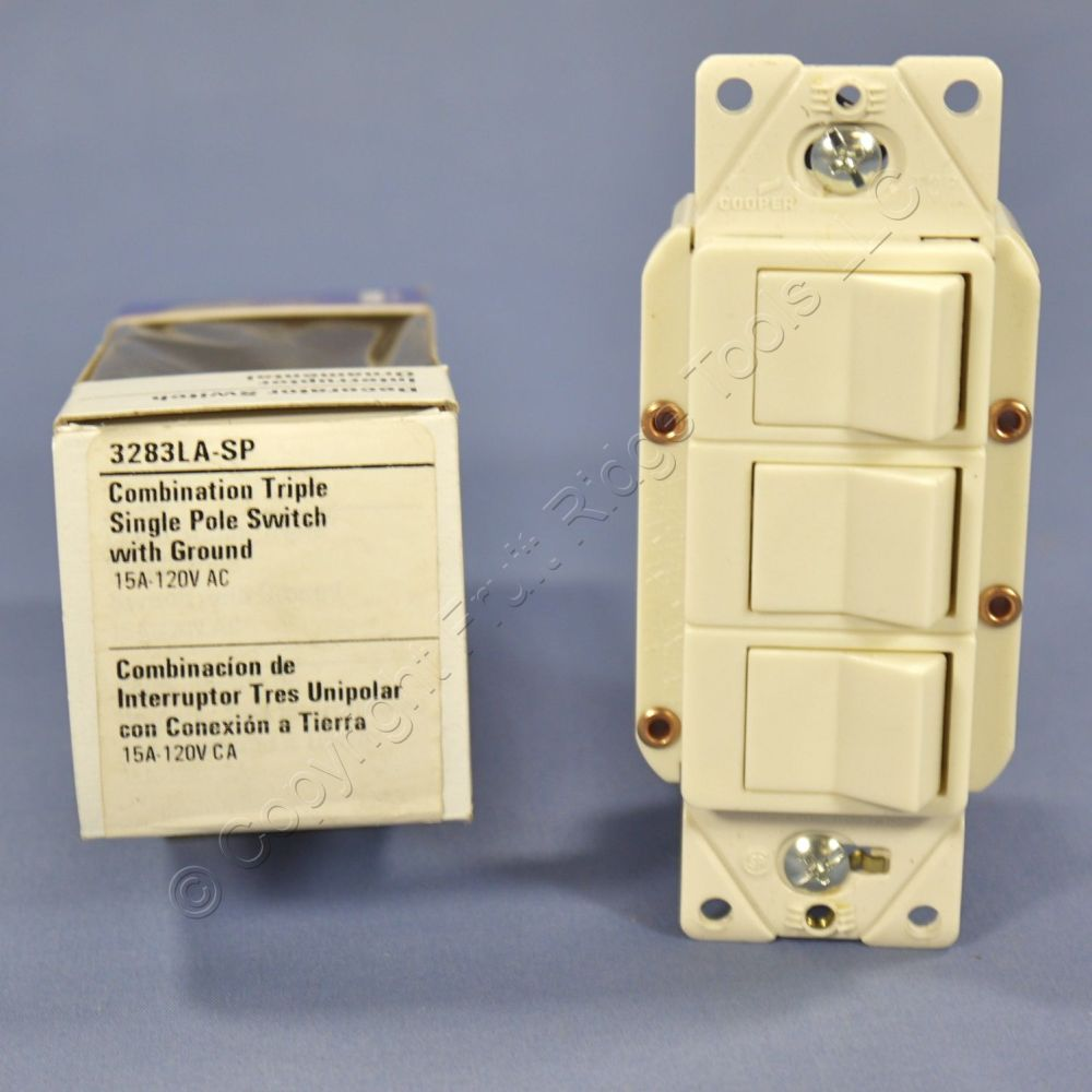 medium resolution of eagle light almond decorator triple rocker switch single pole 3283la