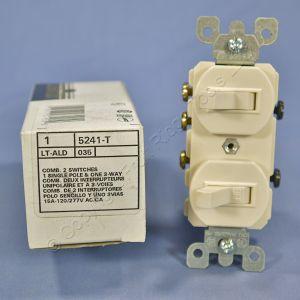 Leviton Lt Almond Double Toggle Light Switch Duplex Single
