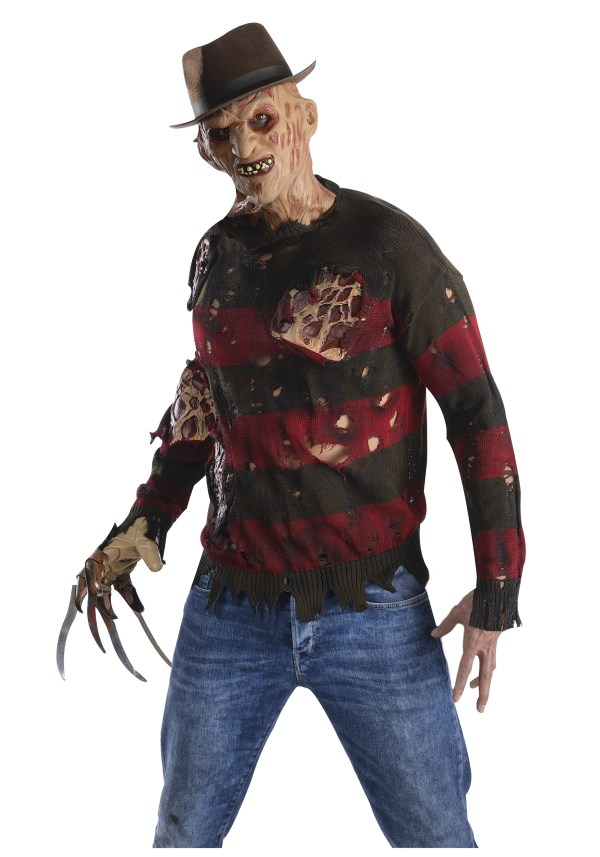 Freddy Costume Sweater With Burned Flesh Adult