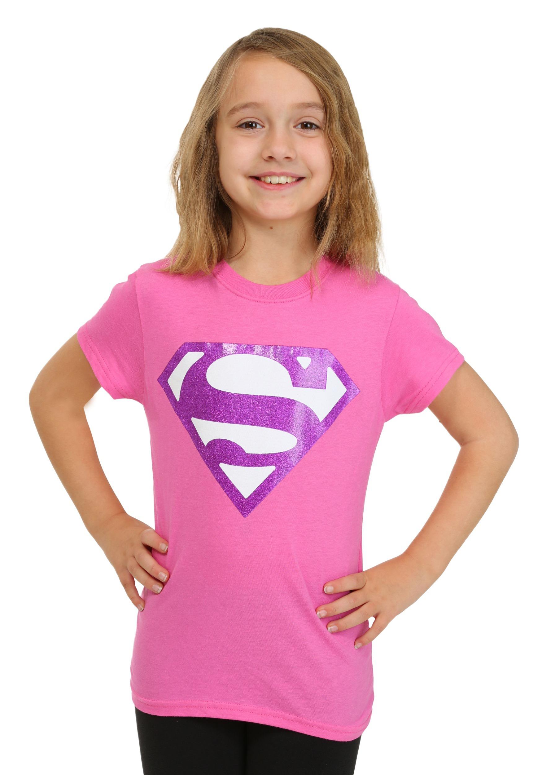 Girls Pink Glitter Superman Logo TShirt