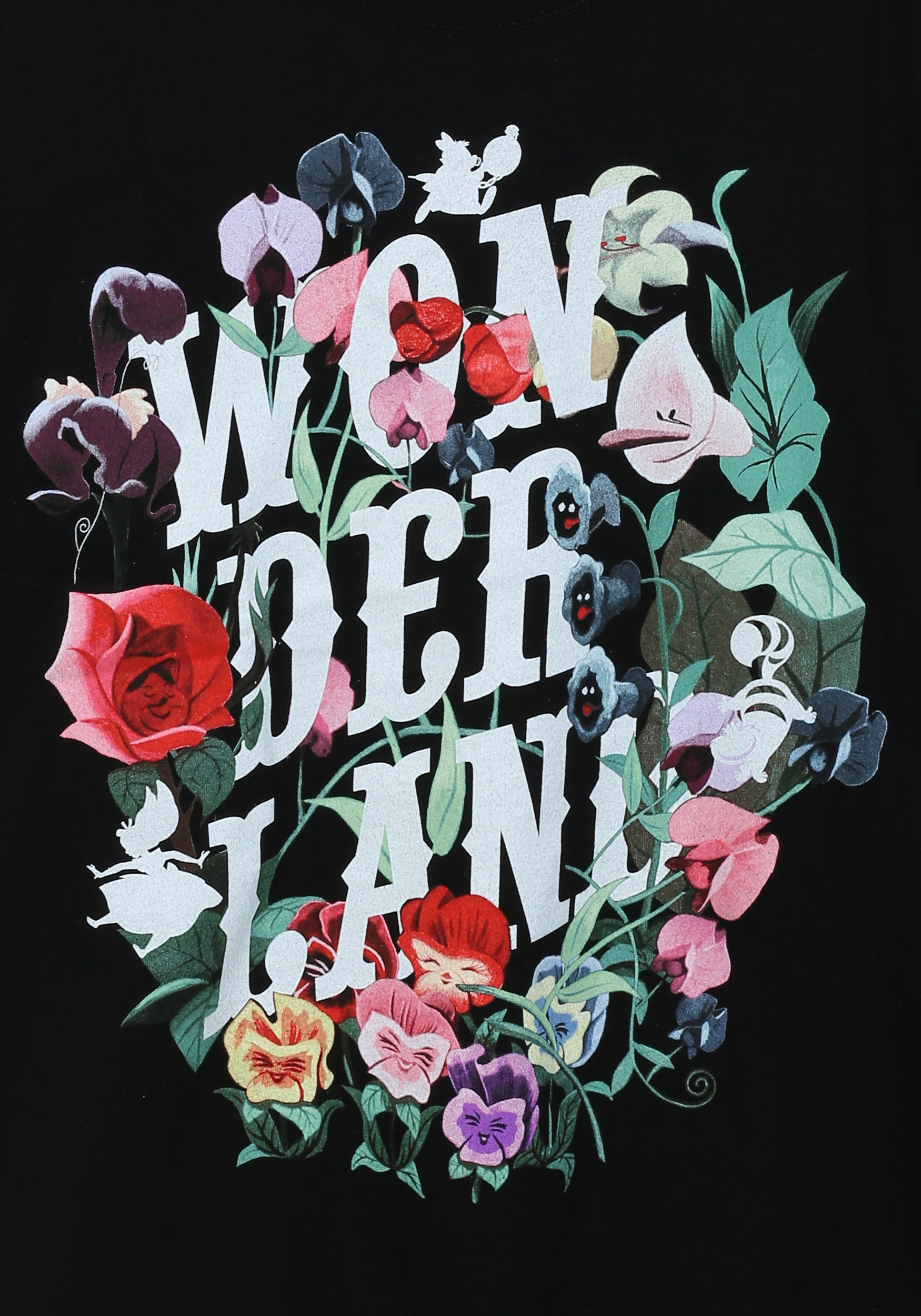 Falling Down Flowers Wallpaper Alice In Wonderland Flowers Womens T Shirt
