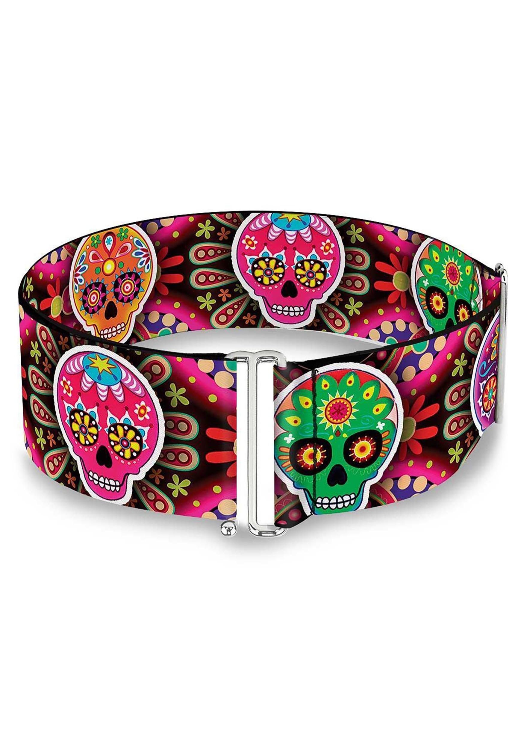 Multi Color Sugar Skulls Cinch Waist Belt