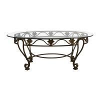 90% OFF - Iron Cast Glass Top Antique Coffee Table / Tables