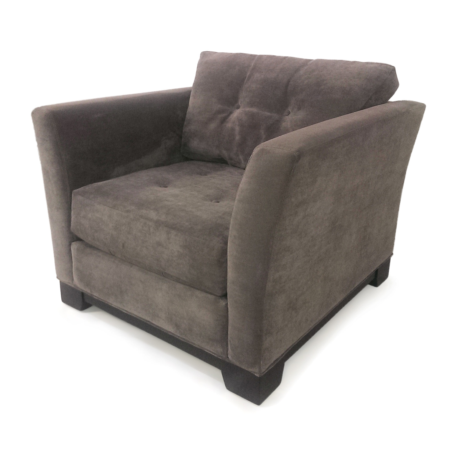 gray tufted chair chairish 30 off macy 39s grey arm chairs