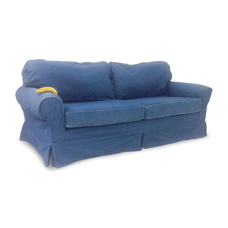 blue jean stain on sofa reviews ikea sofas denim fabric modern loveseat set w