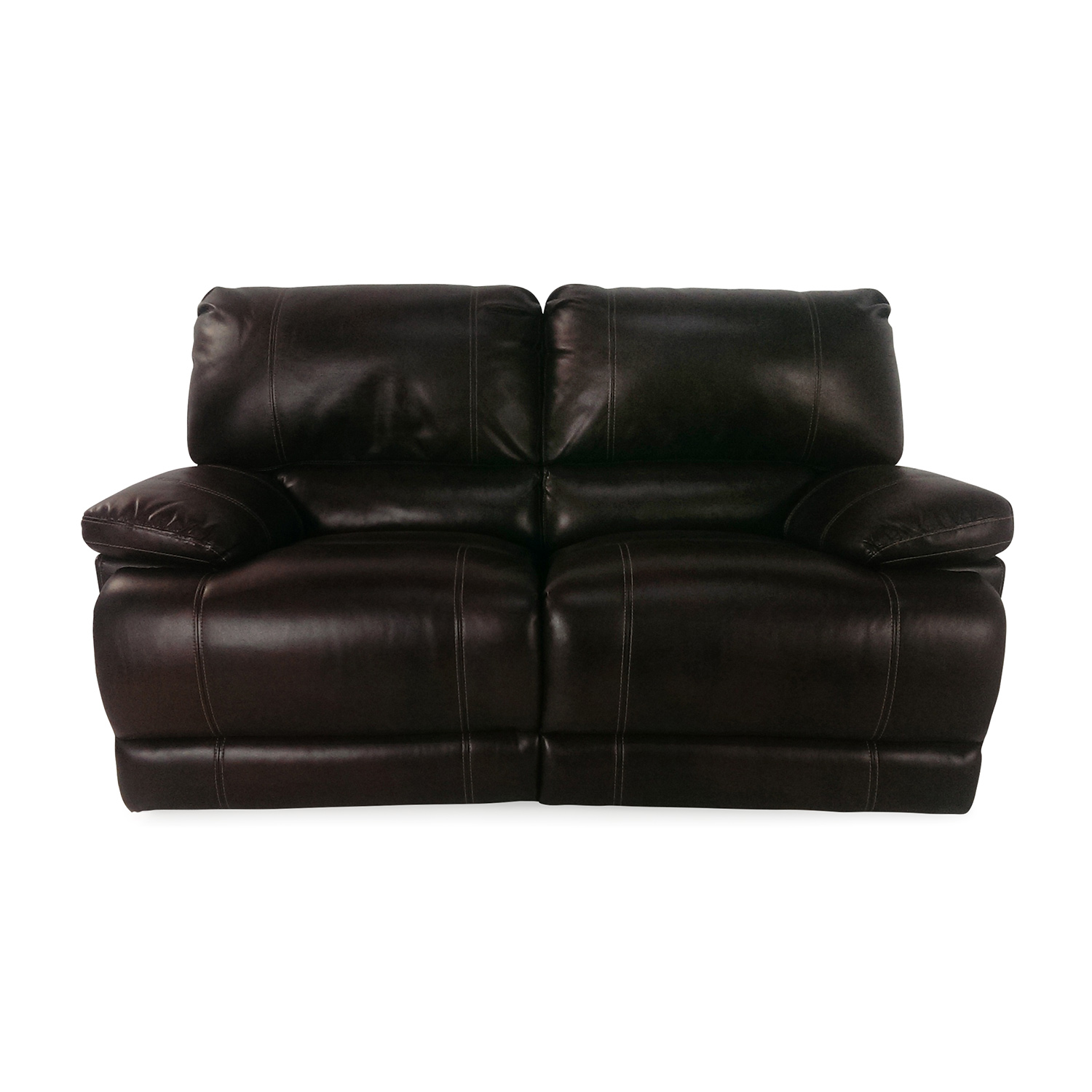 bobs furniture sofa recliner black and white cushions 50 off reclining loveseat