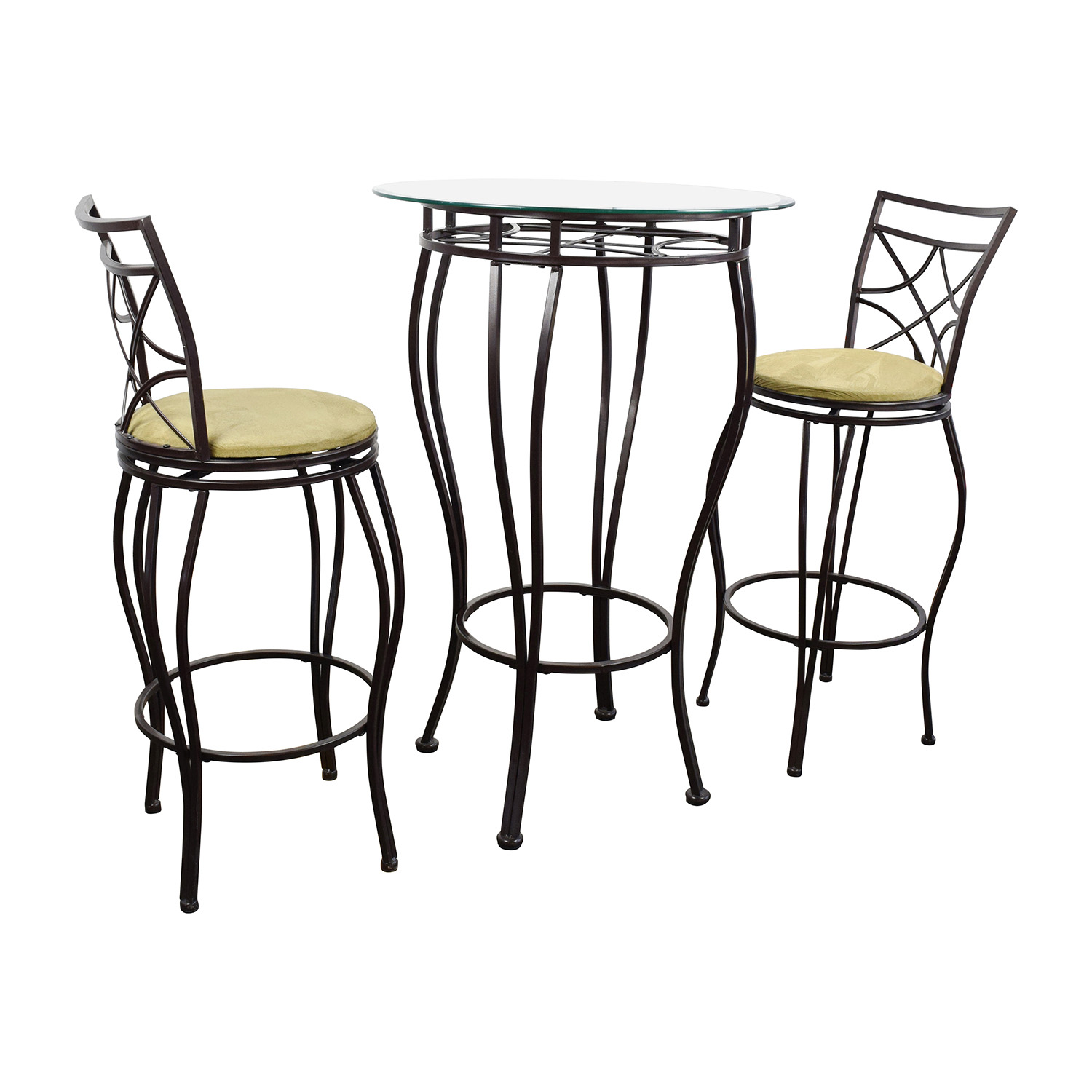 89 OFF  Iron Bistro Table and Two Chairs  Tables