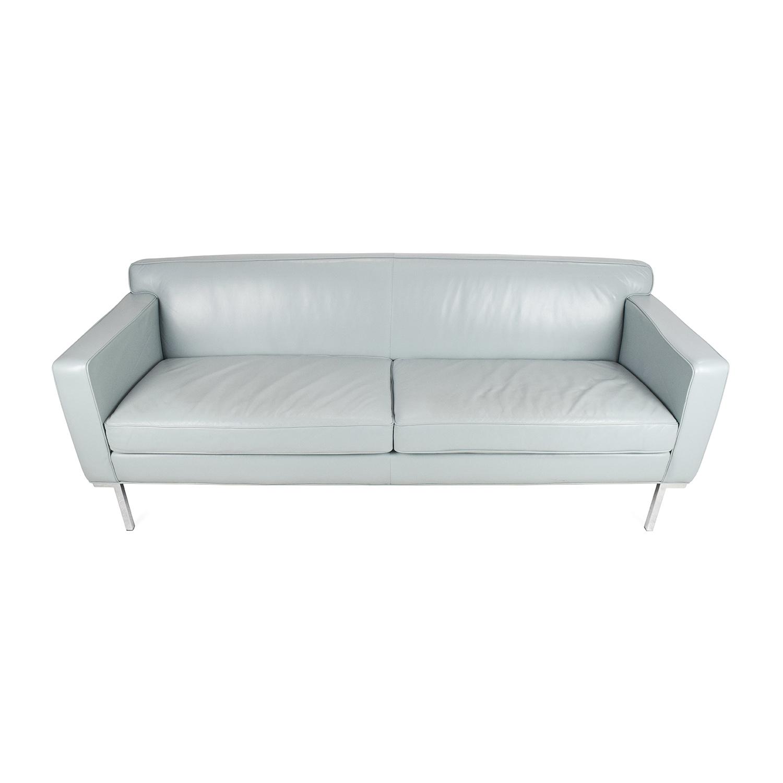 dwr theatre sofa review custom leather dallas tx 30 off italian navy tufted sofas